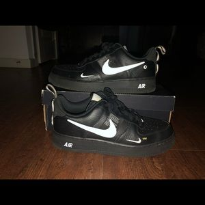 Nike black white yellow Air Force 1's